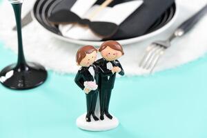 figurines pour gâteau couple d'hommes