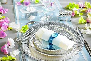 decoration grise et bleu pour mariage