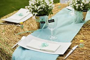 deco table mariage menthe et beige