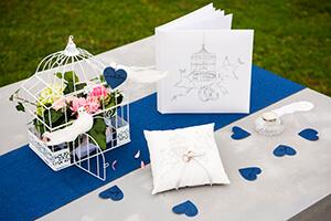 decoration mariage gris et bleu
