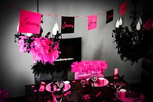 decoration salle mariage rose et noir