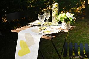 decoration table mariage vert anis et gris